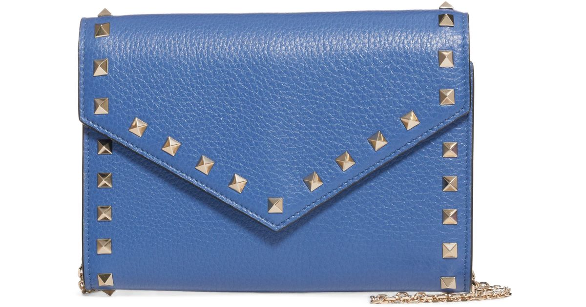a39cd6517c344 Valentino Rocktstud V-flap Calfskin Leather Wallet On A Chain in Blue - Lyst