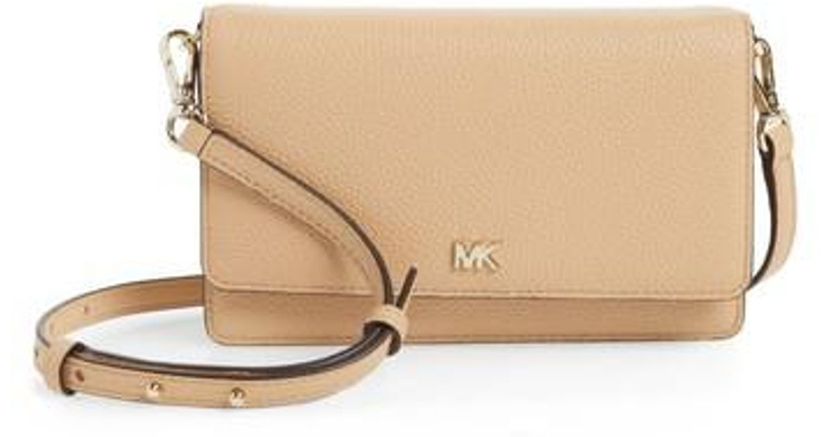 36e72f9fc0812d MICHAEL Michael Kors Leather Crossbody Phone Wallet - in Natural - Lyst