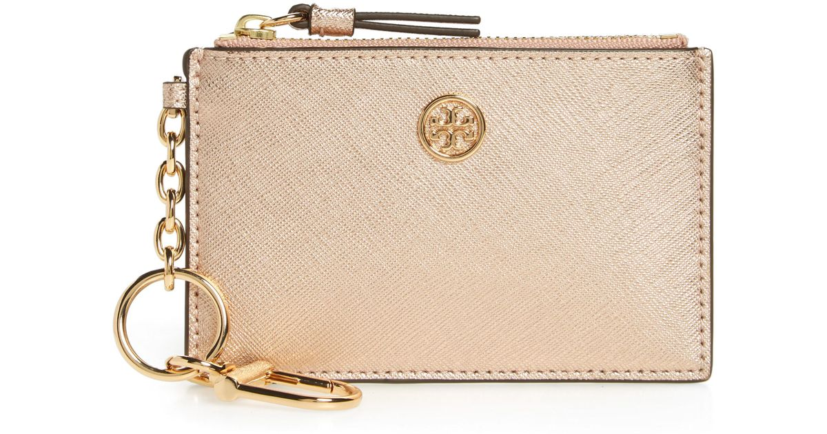 new concept ca927 c8f59 Tory Burch Robinson Metallic Leather Card Case With Key Chain