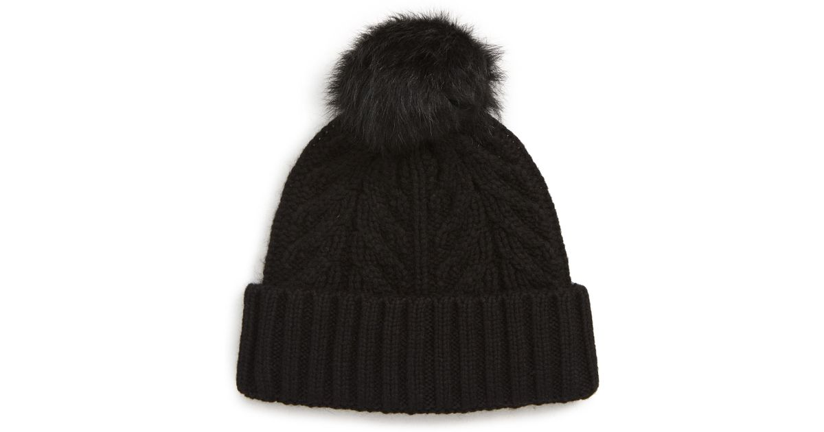 Lyst - UGG Ugg Pompom Cable Genuine Shearling Beanie in Black a0a10f59bdeb