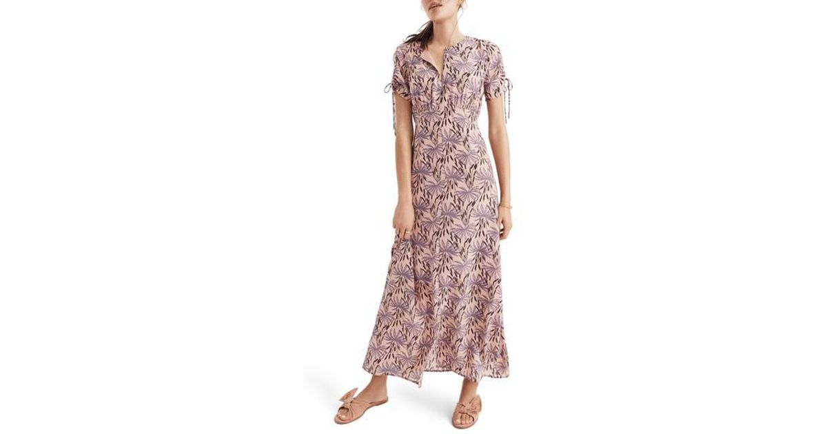 0b4f6c63 Lyst - Madewell Oasis Palms Tie Sleeve Silk Maxi Dress in Pink