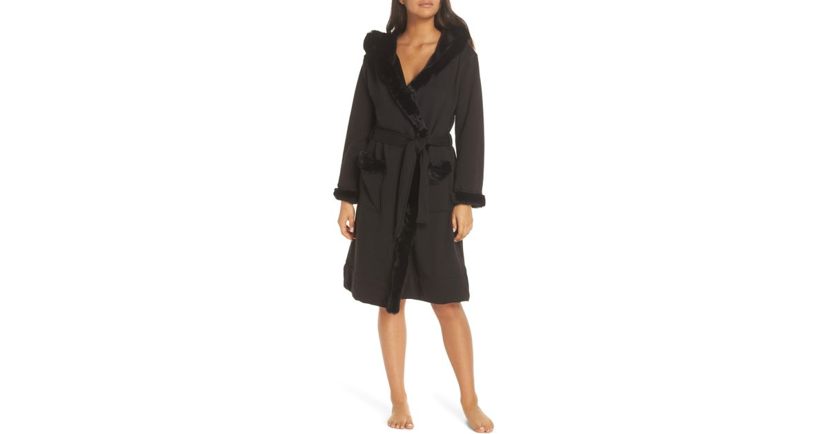 e648ccbf3a Lyst - UGG Ugg Duffield Ii Deluxe Faux Fur Trim Robe in Black