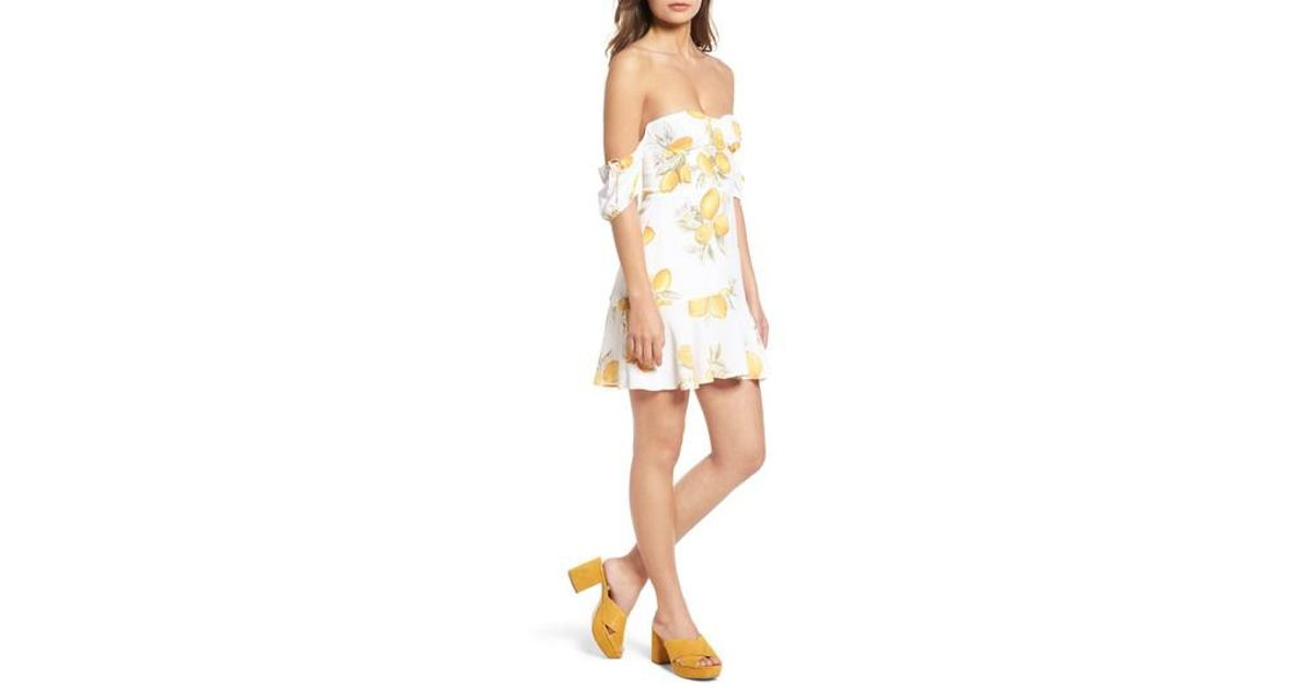 53767a49cee1 Lyst - For Love   Lemons Lemonade Off The Shoulder Minidress in Yellow