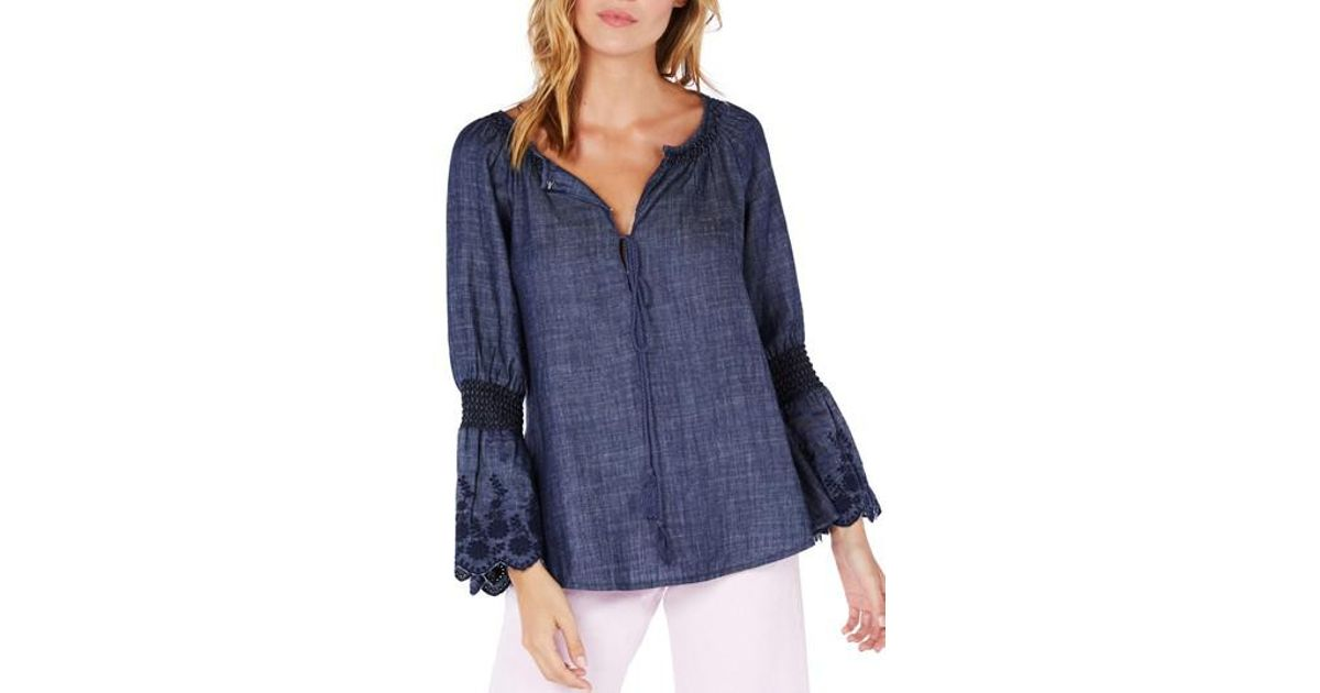 7eaa8782e9 Lyst - Michael Stars Frilled Sleeve Peasant Top in Blue