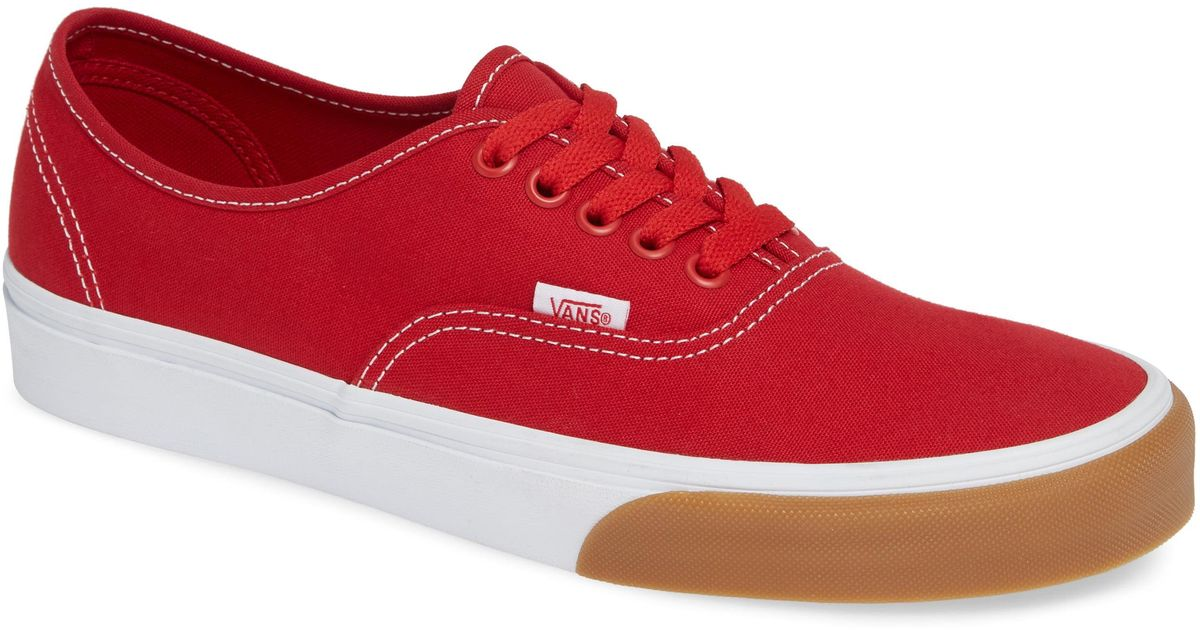 9a0fd3ea84 Lyst - Vans Authentic Gum Bumper Sneaker in Red for Men