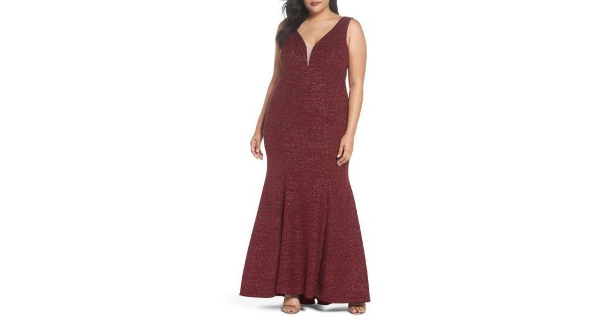 Lyst - Xscape Metallic Knit Mermaid Gown (plus Size)