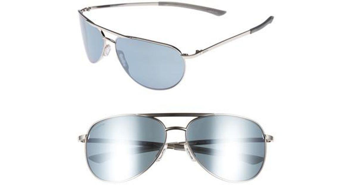 239ebdeb66f Lyst - Smith Serpico Slim 2.0 60mm Chromapop Polarized Aviator Sunglasses  in Metallic