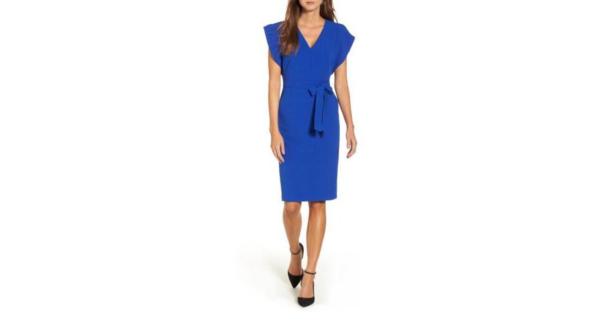 7988102be3a Lyst - Eliza J Ruffle Sleeve Sheath Dress in Blue