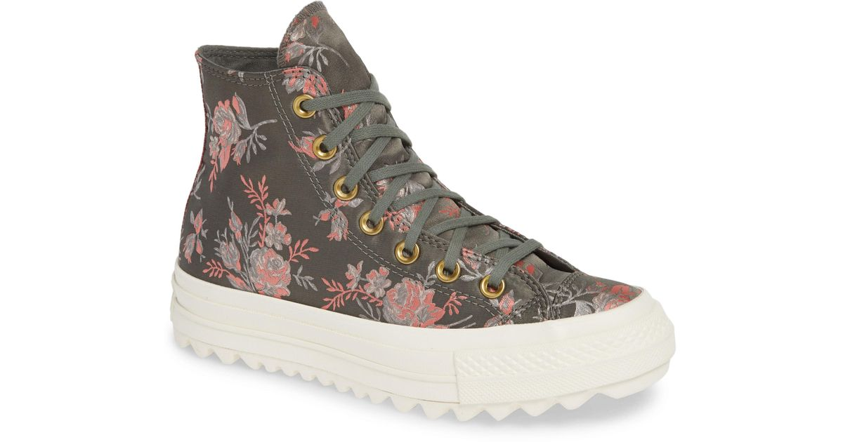 2888ba0d46c Converse Gray Chuck Taylor All Star Lift Ripple Parkway Floral High Top  Sneaker