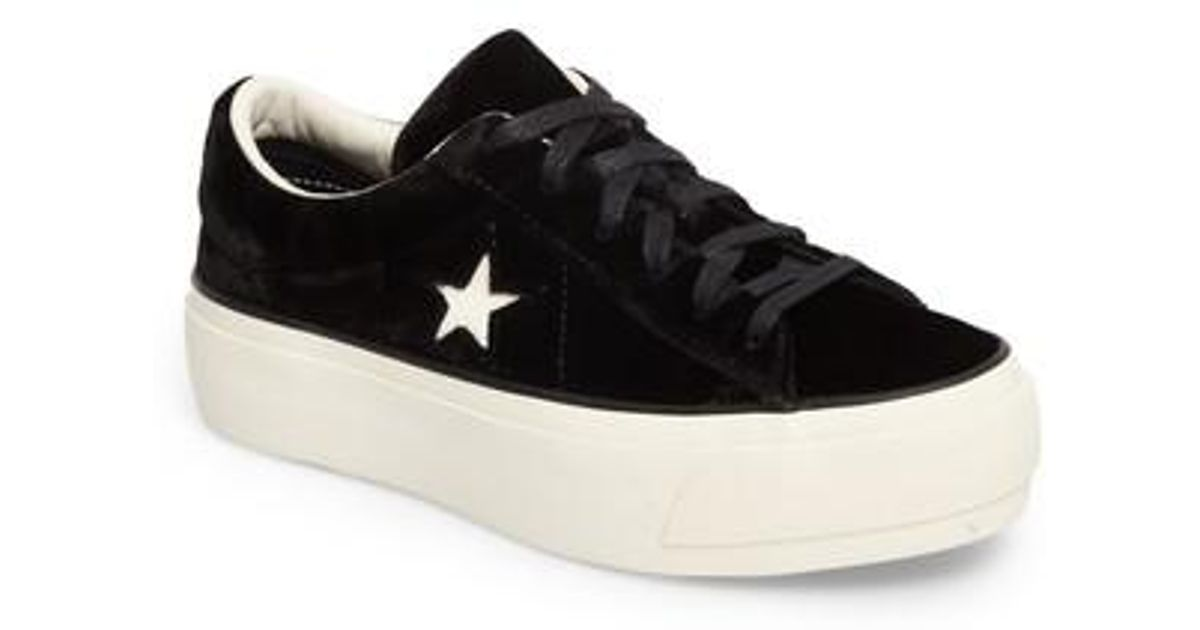 8736dc08855c7e Lyst - Converse One Star Platform Suede Sneakers in Black