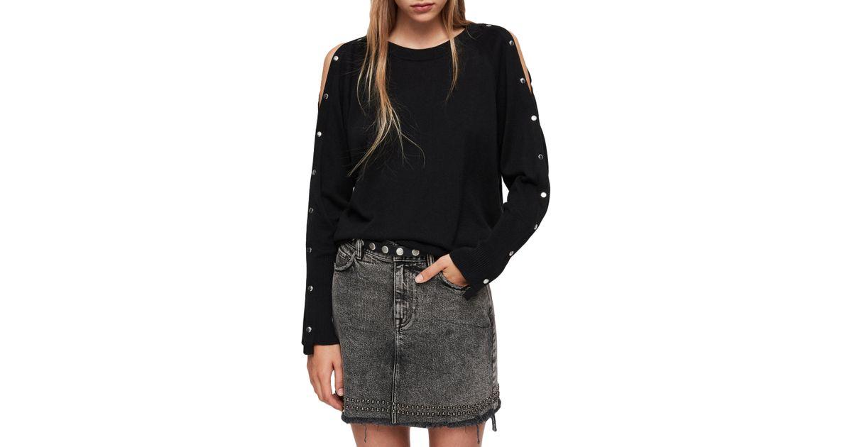 b43a2e1dbbf Lyst - AllSaints Suzie Snap Sleeve Sweater in White