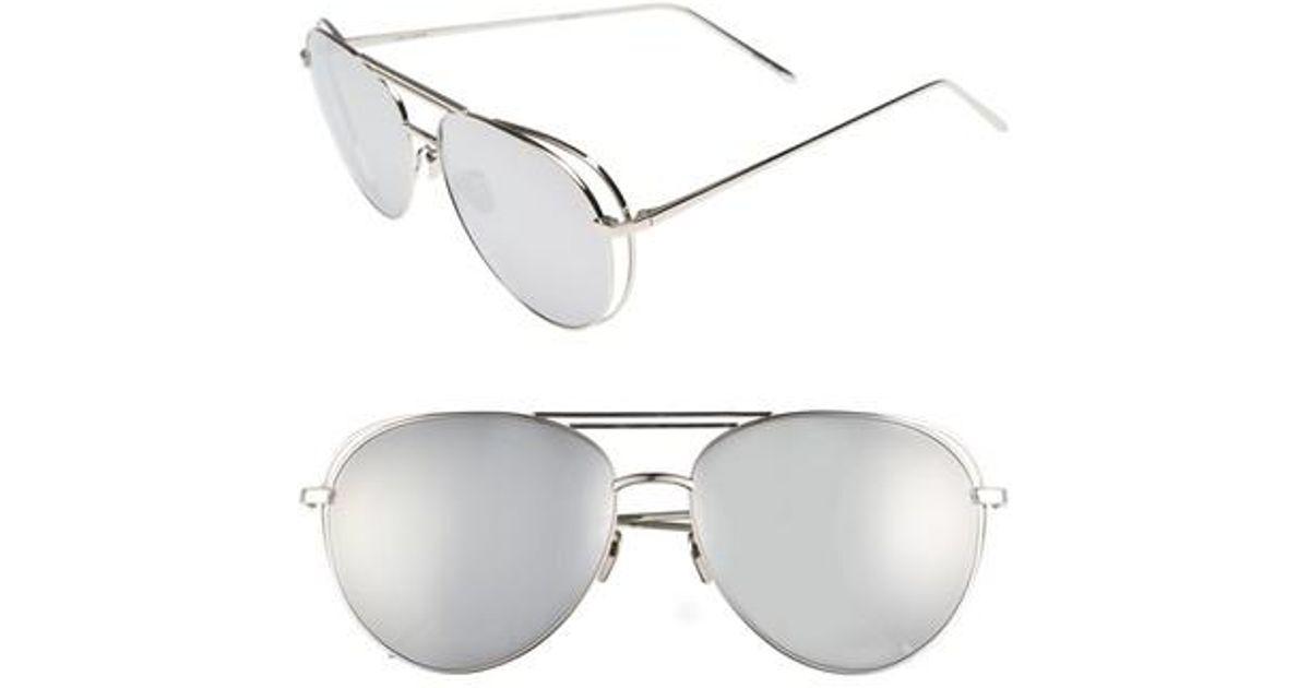 29e54fd7ac8 Lyst - Linda Farrow 60mm Mirrored 18 Karat White Gold Sunglasses in White