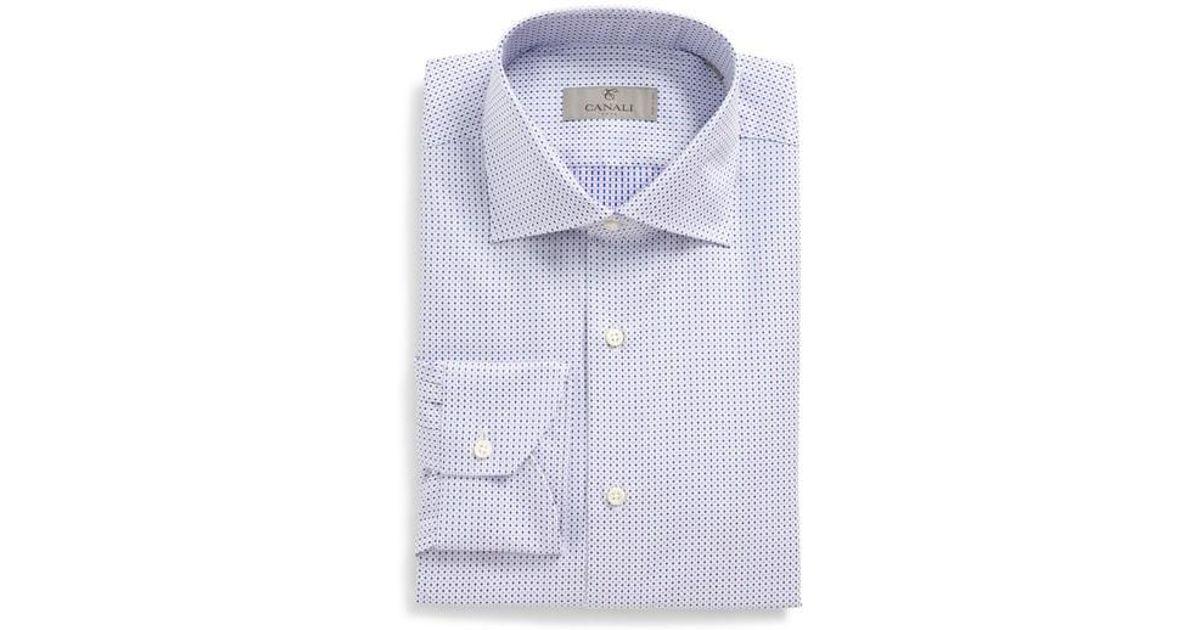 Lyst canali regular fit geometric dress shirt in purple for Regular fit dress shirt