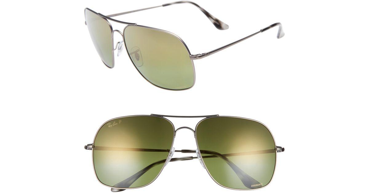 4f3fb4aba87 Lyst - Ray-Ban Chromance 61mm Double Bridge Aviator Sunglasses - Gunmetal   Green in Green for Men