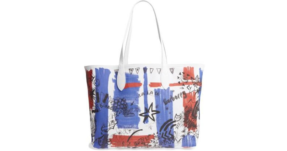 b290318e96c7 Lyst - Burberry Sketchbook Series Reversible Coated Canvas Tote in White