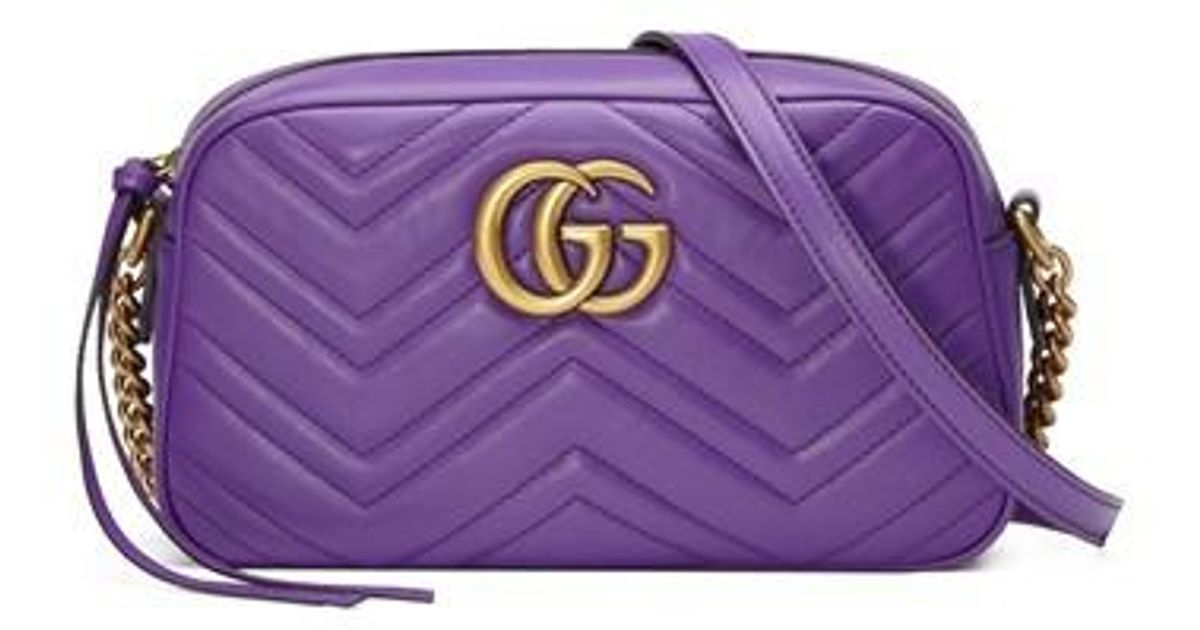 Lyst Gucci Small Gg Marmont 2 0 Matelasse Leather Camera Bag Purple In