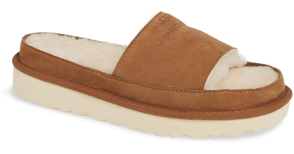 e1a51f67a43 Y. Project Brown X Ugg Genuine Shearling Slide Sandal for men