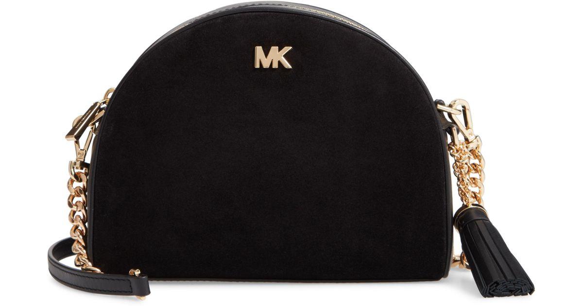 ea134b771604 Lyst - MICHAEL Michael Kors Ginny Half Moon Leather Crossbody Bag in Black