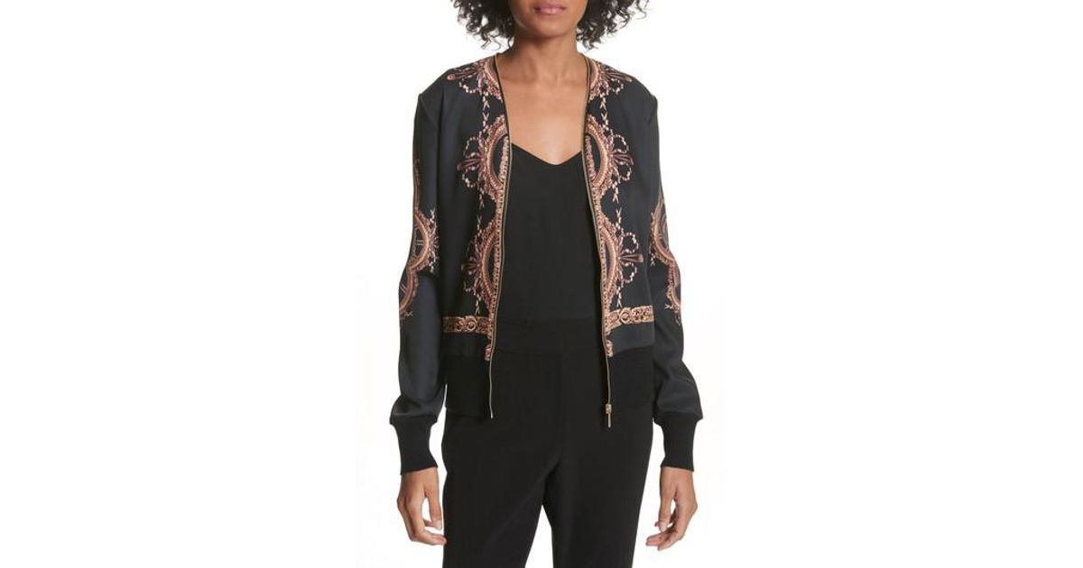 b26505156d104b Lyst - Ted Baker Versailles Zip-up Cardigan in Black
