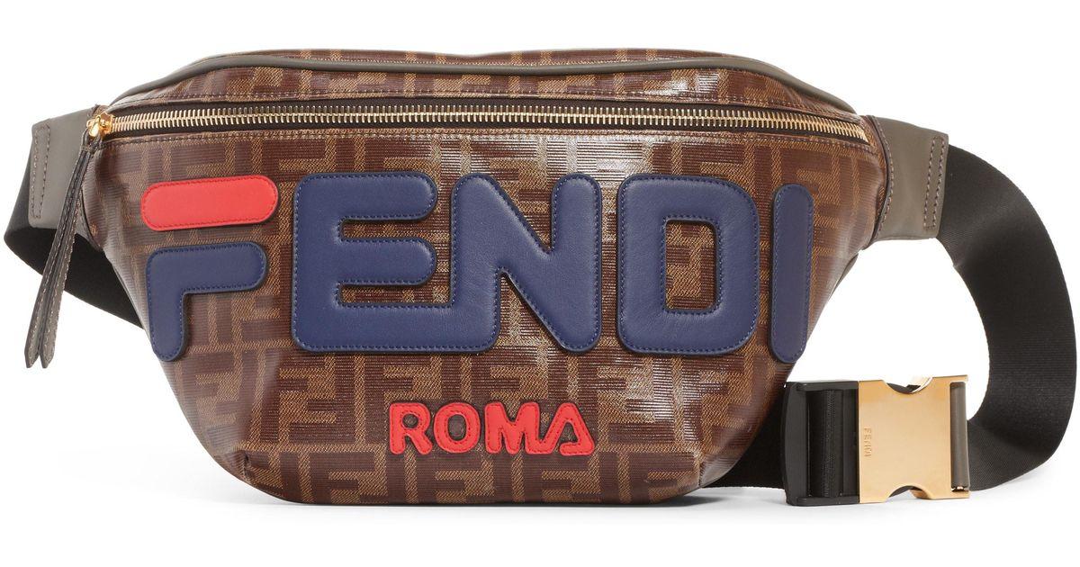 0e314dc7b317 Lyst - Fendi X Fila Mania Logo Belt Bag - in Brown