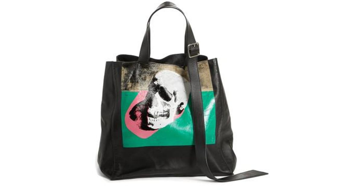 Calvin Klein 205w39nyc Black X Andy Warhol Foundation Skull Leather Tote