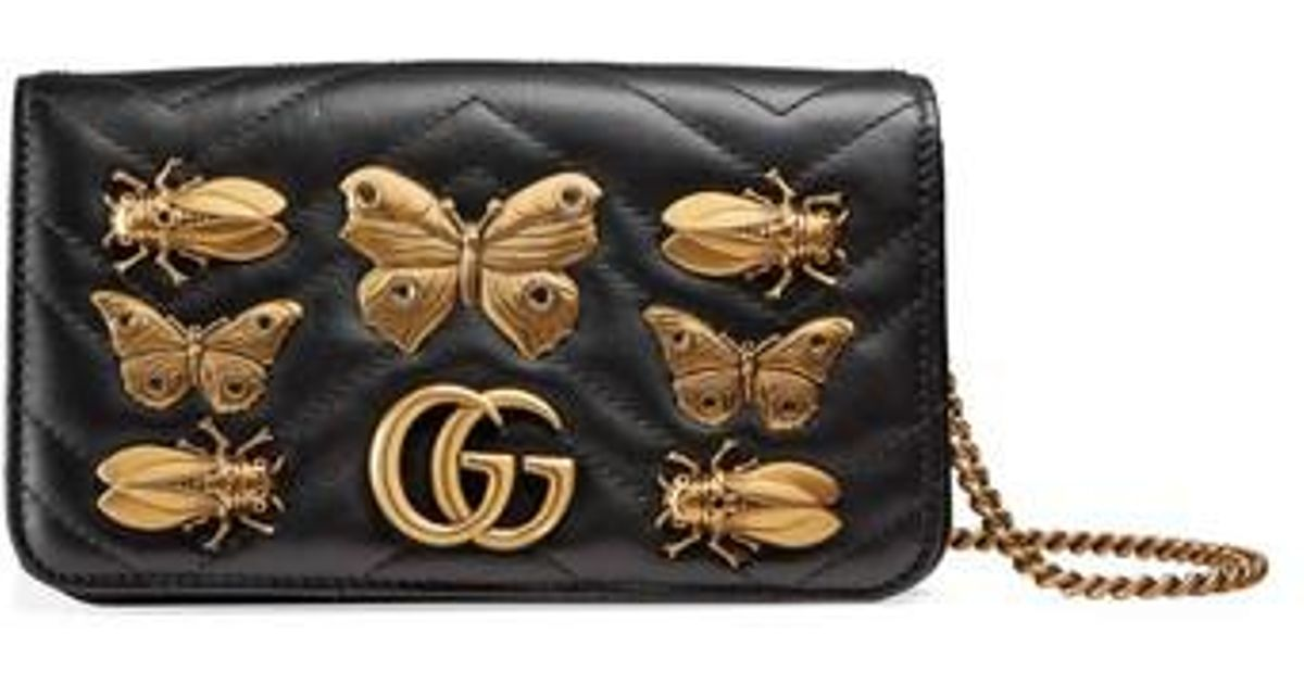 bc4c5fc4cd60 Lyst - Gucci Gg Marmont 2.0 Animal Stud Matelasse Leather Shoulder Bag in  Black