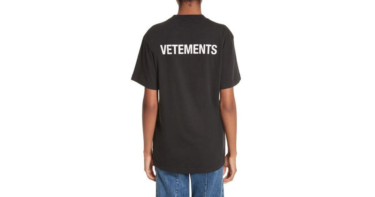 Lyst vetements staff basic logo tee in black for men for Vetements basic staff t shirt