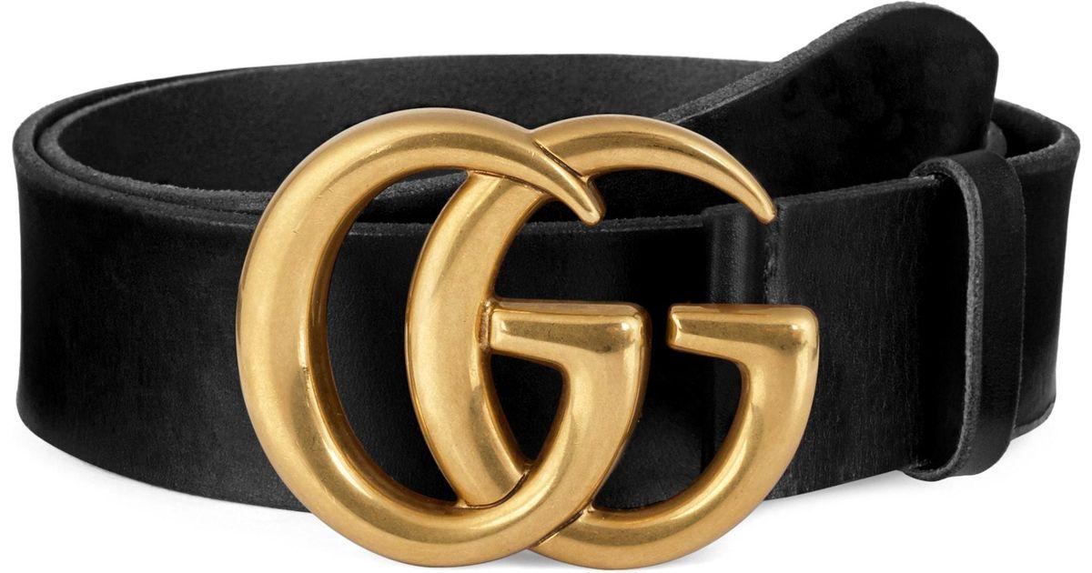 Gucci Black Running Gold Leather Belt for men