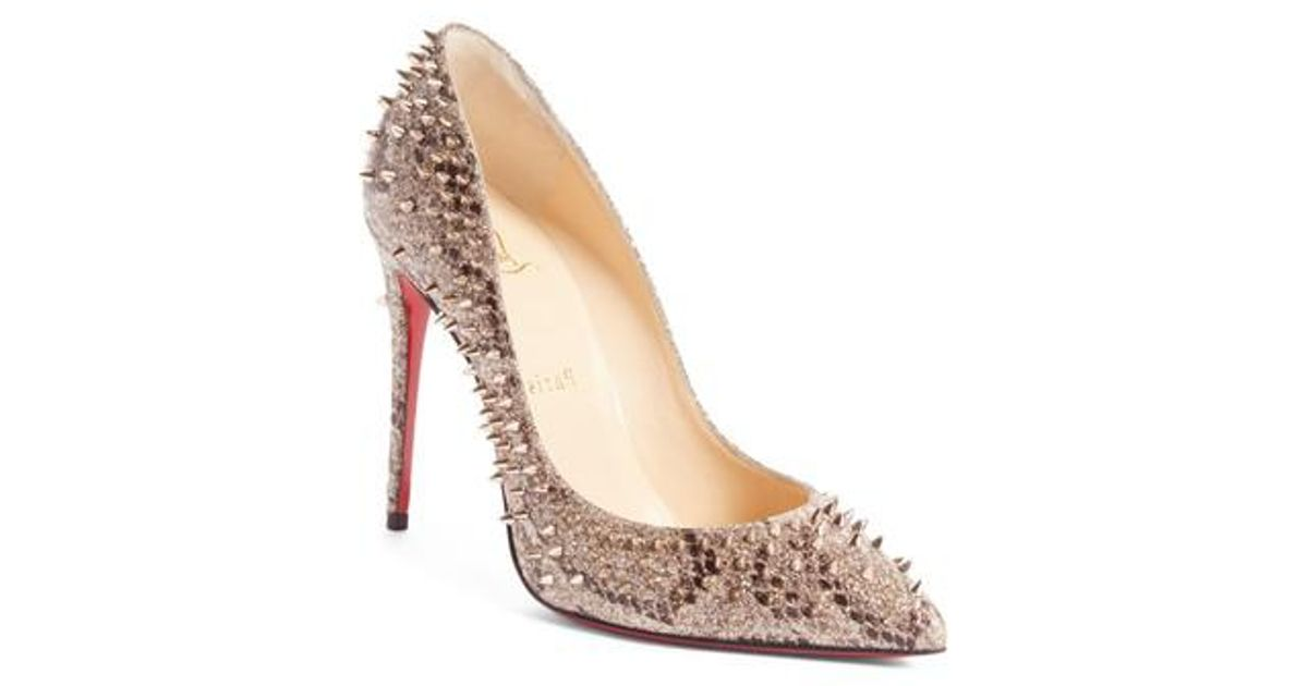 uk availability a8843 1a73e Christian Louboutin Natural Escarpic Spike Pump