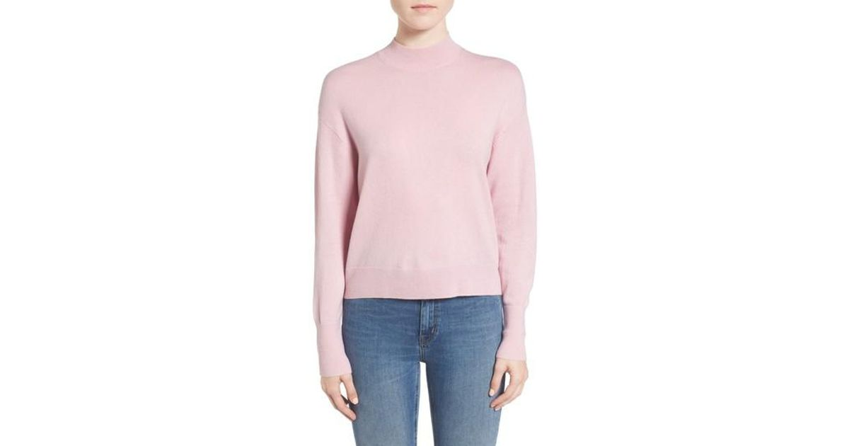 Everlane The Cashmere Crop Mock Neck Sweater in Pink | Lyst