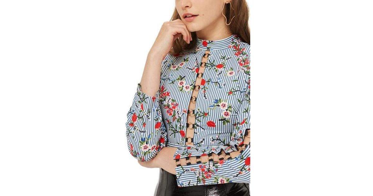 134e8be1861 Lyst - TOPSHOP Ring Lace Up Floral Stripe Top in Blue