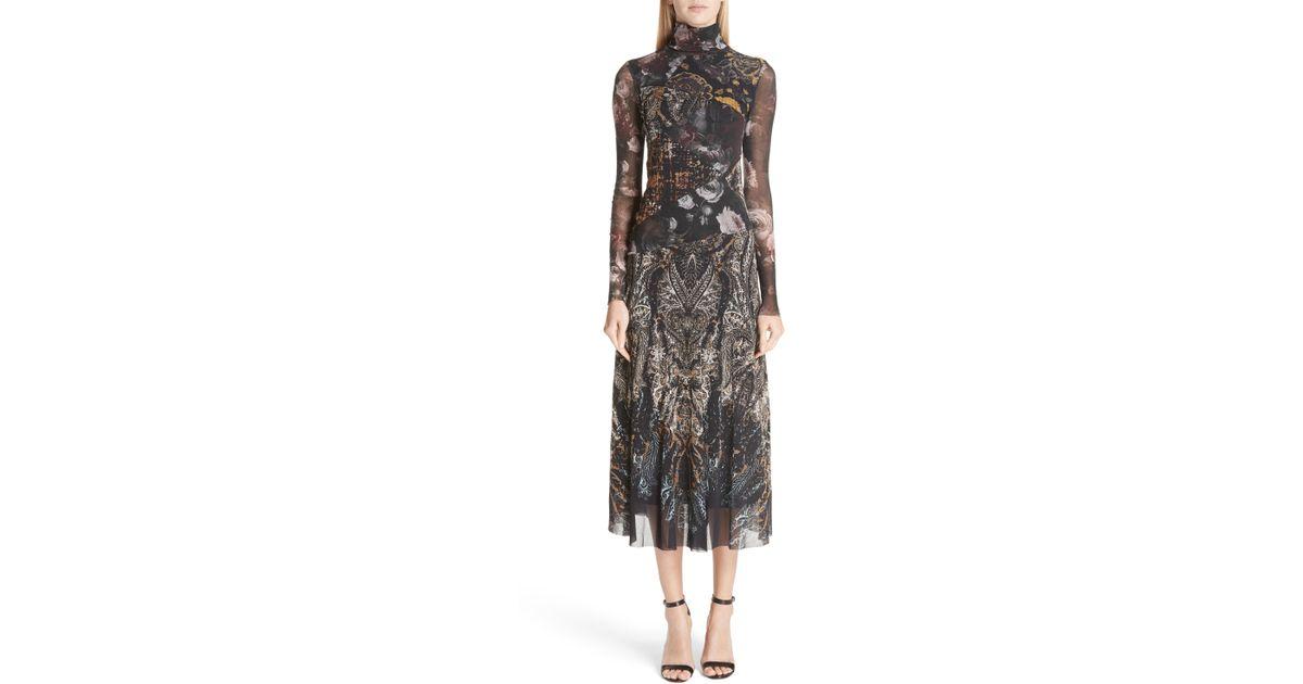 3909b0ee15 Lyst - Fuzzi Mixed Print Tulle Turtleneck Dress