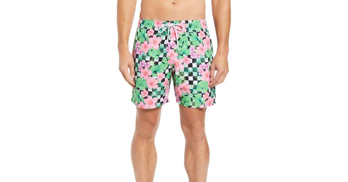 77946e0e4b Boardies Checkerboard Floral Print Swim Trunks for Men - Lyst