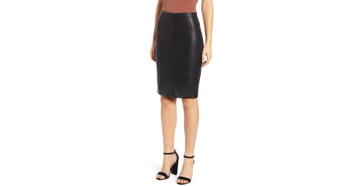 2f75cc320f Lyst - Blank NYC Faux Leather Pencil Skirt in Black