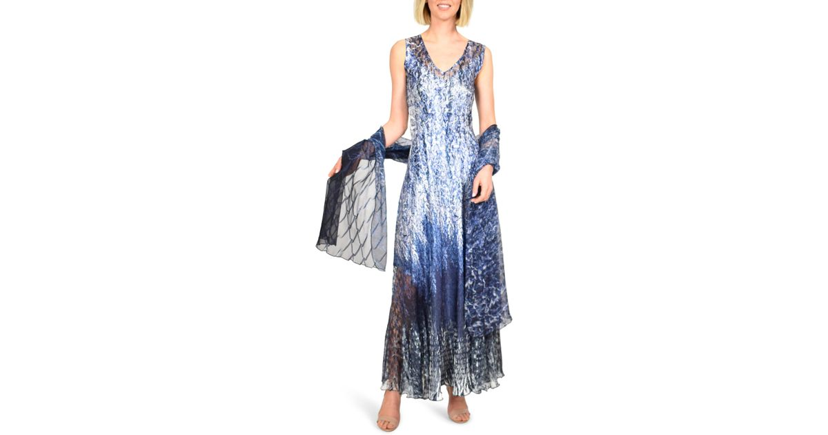 0acc07c39db Lyst - Komarov Charmeuse Maxi Dress With Wrap in Blue