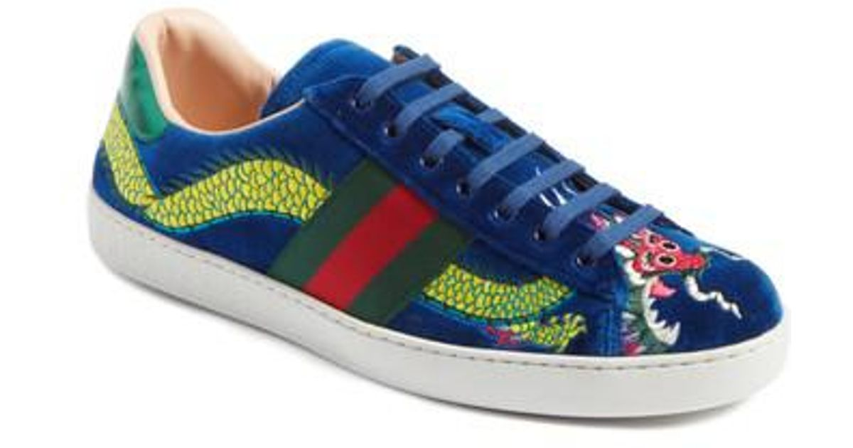 c280204ba Gucci New Ace Dragon Sneaker in Blue for Men - Lyst