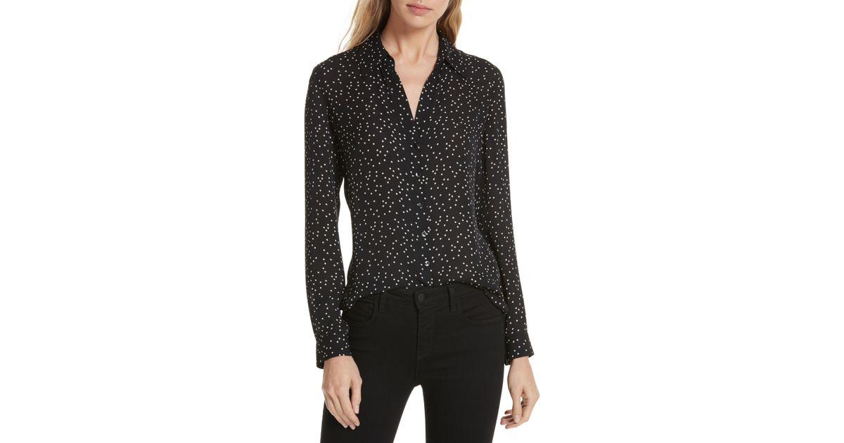 2b75f657b400ea Lyst - L Agence Nina Polka Dot Silk Blouse in Black