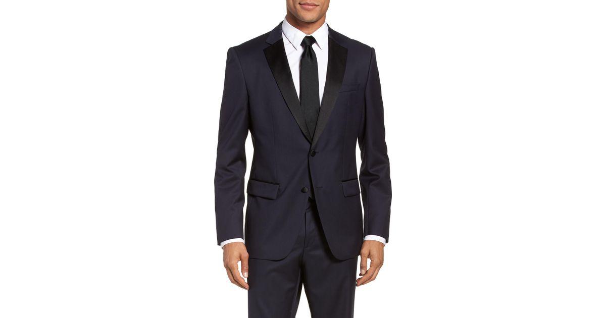 c1eb19ffe Boss Hence Cyl Slim Fit Wool Dinner Jacket In Blue For Men Lyst. Hugo  Areltu Suit Jacket Dark Blue