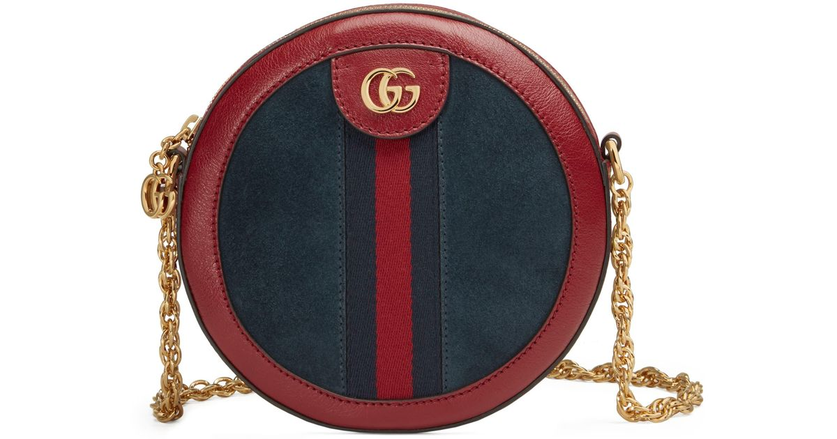864d76b72ce8c0 Gucci Ophidia Small Suede & Leather Circle Crossbody Bag - in Red - Lyst