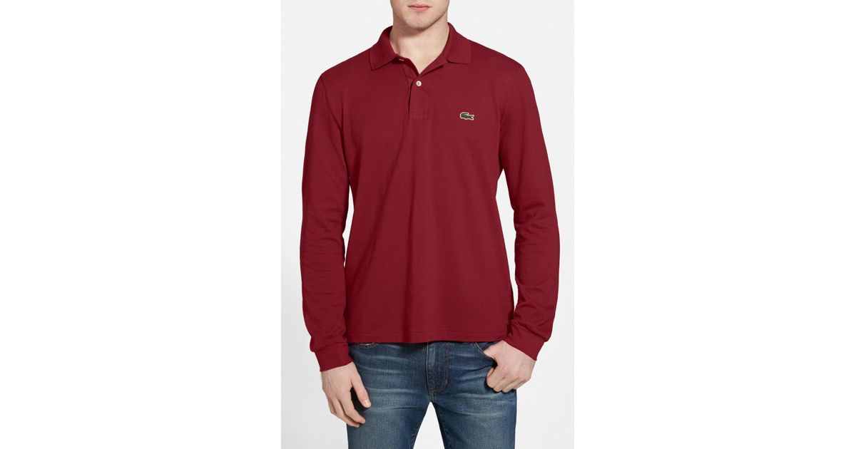 3dfdfeb1 Lacoste Regular Fit Long Sleeve Piqué Polo in Red for Men - Save 52% - Lyst