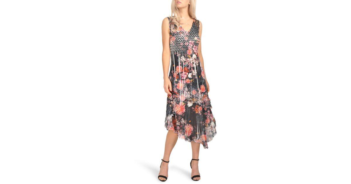 c2af744125 Lyst - Komarov Asymmetrical Hem Midi Dress (regular   Petite)