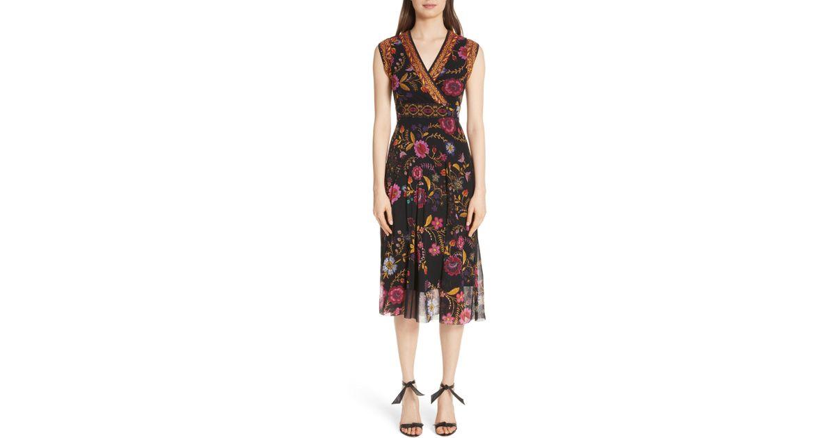 70b4e6277e Fuzzi Reversible Folk Floral Print Tulle Dress in Black - Lyst