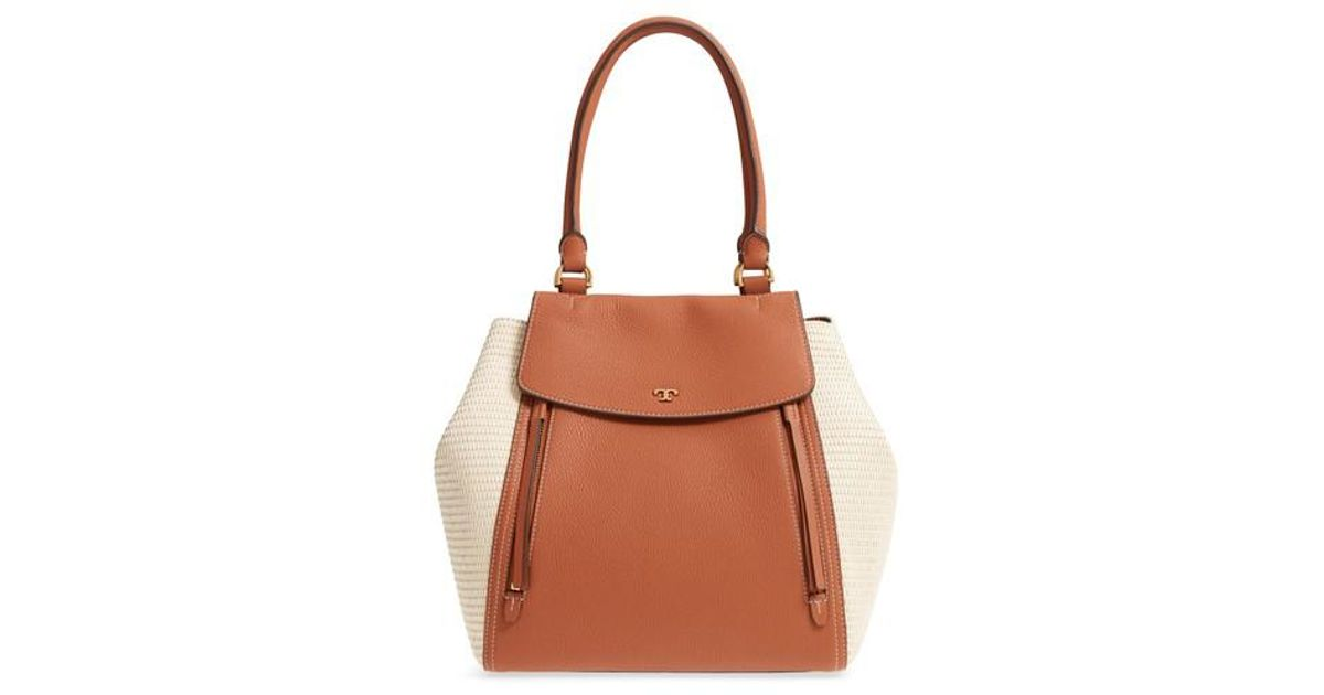 818c69a84c5f Tory Burch Brown Half-moon Straw & Leather Tote -