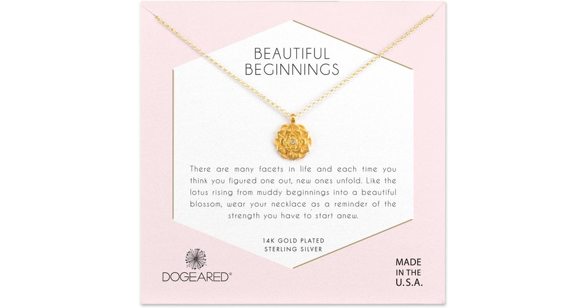 Lyst Dogeared Beautiful Beginnings Lotus Pendant Necklace In Metallic
