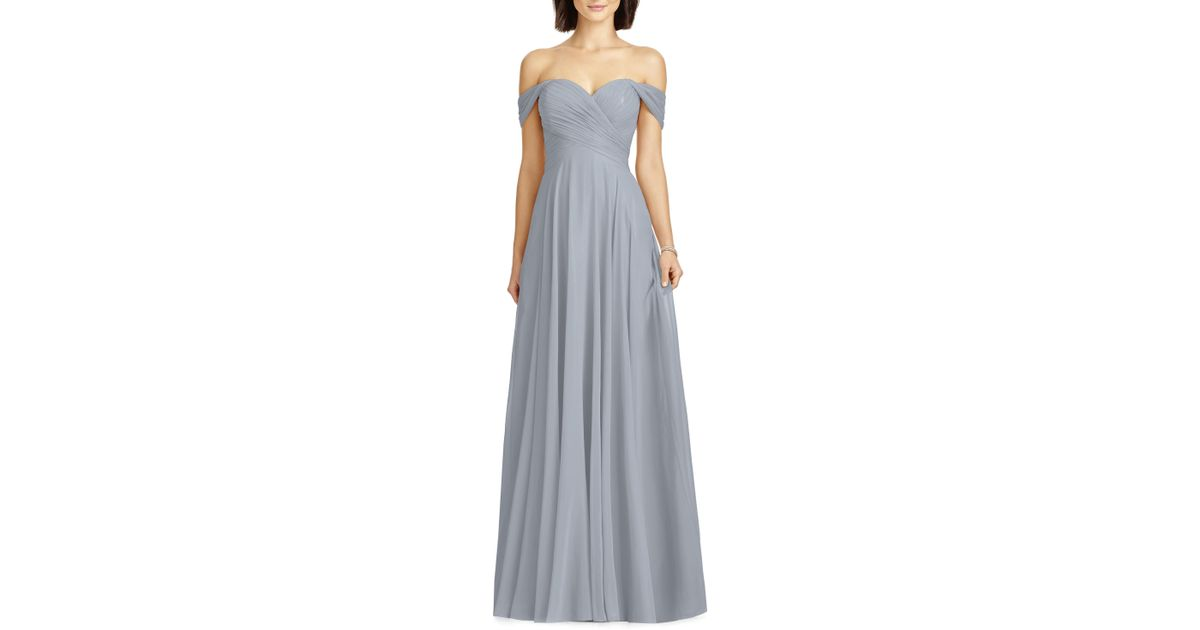 7e76e2a2 Dessy Collection Lux Ruched Off The Shoulder Chiffon Gown in Blue - Lyst