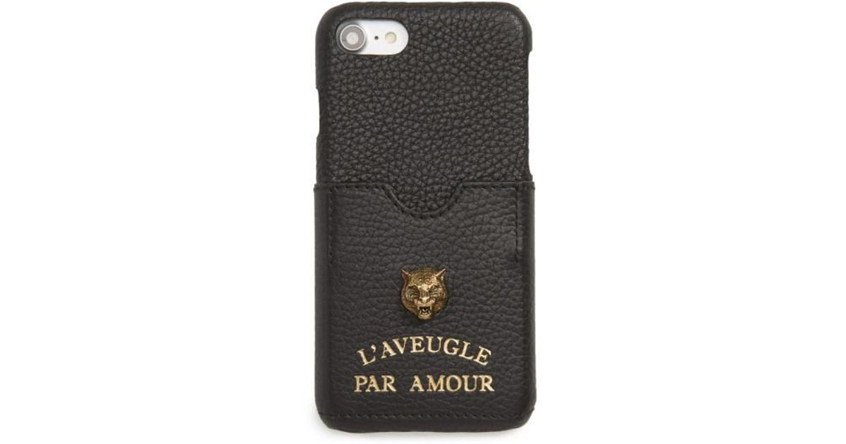 reputable site 2aec1 7e348 Gucci Black Tiger L'aveugle Par Amour Leather Iphone 7 Case
