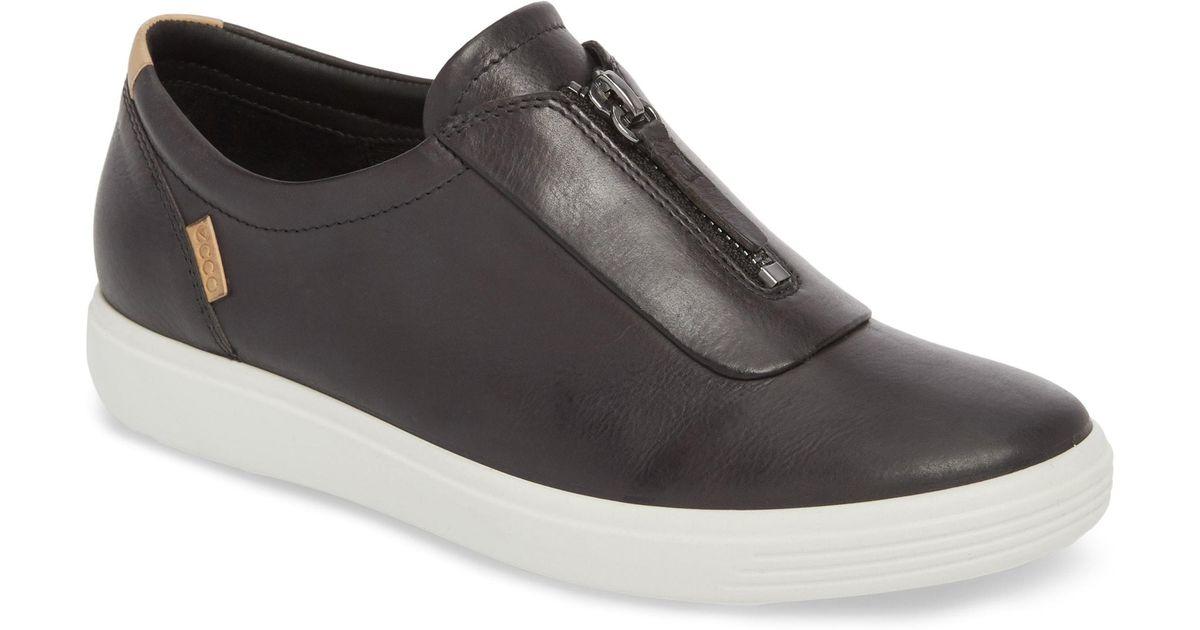 Ecco Soft 7 Center Zip Sneaker in Brown