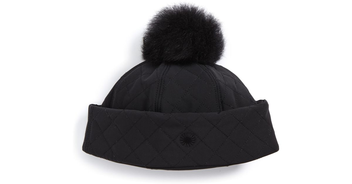 Lyst - UGG Ugg Australia Water Resistant Quilted Hat With Genuine Shearling  Pompom - in Black 77c9434dc2f