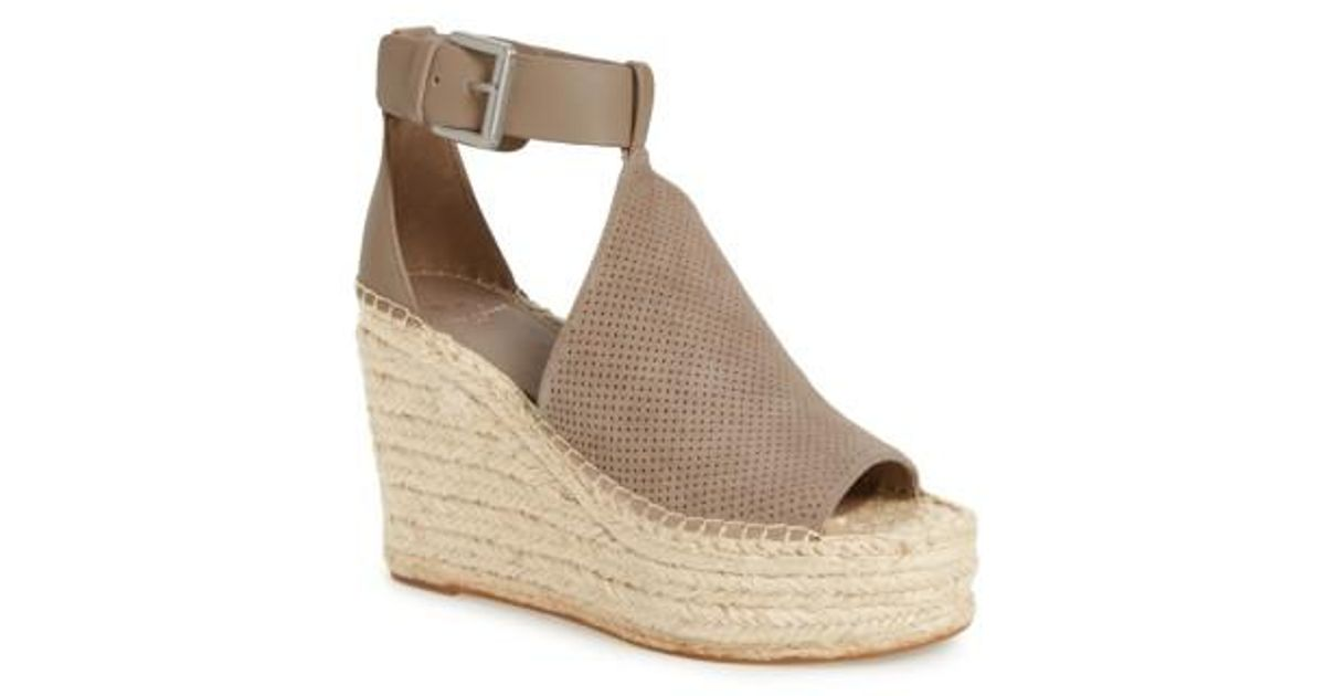 cbbd71d81ed2 Lyst - Marc Fisher Annie Perforated Espadrille Platform Wedge
