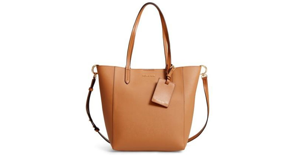 a0b1f10d5c6e MICHAEL Michael Kors Penny Large Saffiano Convertible Leather Tote in Brown  - Lyst